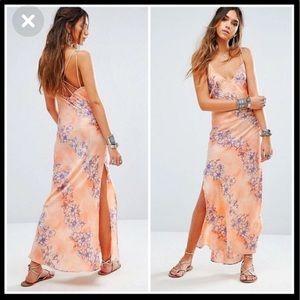 FREE PEOPLE Max Floral Print Silky Slip Dress